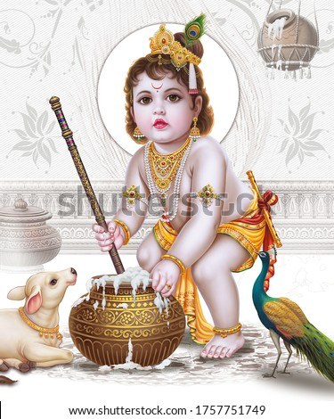 Lord Bal Krishna with colorful background wallpaper , God Bal Krishna poster design for wallpaper Foto stock ©