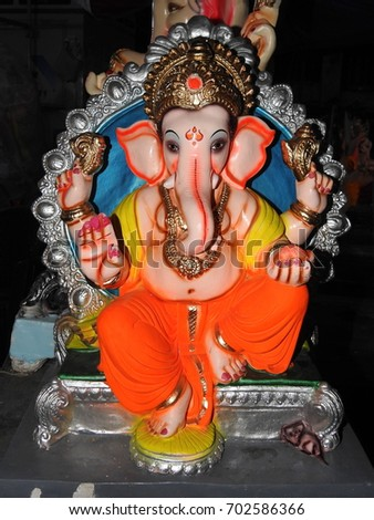 Lord Ganesh Statue Idol Made Of Clay And Soil Coated With Ceramic