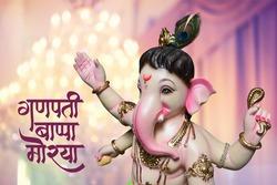 """Lord ganesha, Marathi calligraphy """"Ganpati Bappa Morya"""