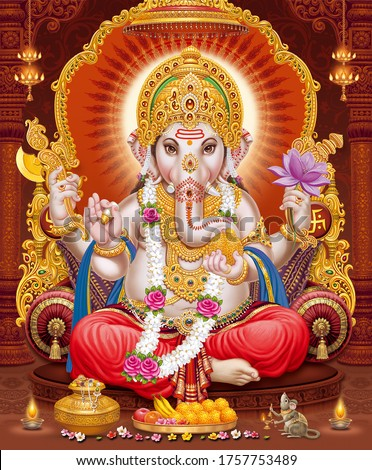 Lord Ganesha with colorful background wallpaper , God Ganesha poster design for wallpaper Stock photo ©