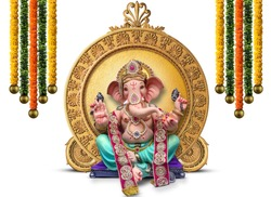 Lord Ganpati. flower garland decoration for Ganesh Chaturthi festival of India