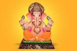Lord Ganpati, Ganpati on Yellow Background, Ganpati, happy Ganesh Chaturthi