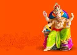 Lord Ganpati idol statue for Happy Ganesh Chaturthi festival of India