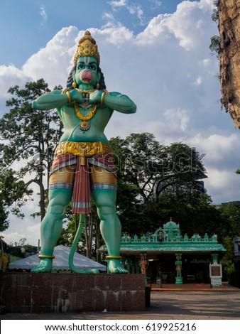 Lord Hanuman deity statue at Batu Caves in Kuala Lumpur, Malaysia #619925216