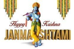 Lord Krishna Indian God Janmashtami festival holiday, Happy Krishna Janmashtami festival of India, Lord Shri Krishna's birth day