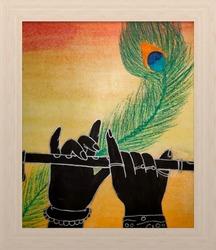 Lord Krishna playing flute the Indian art work
