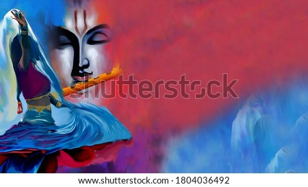 Lord Radha Krishna with flute abstract background and Textured Artwork Artistic  Wallpaper : Ras leela Of Radha and Lord Krishna oil painting Stock photo ©