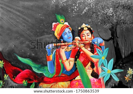 Lord Radha Krishna with flute hindu religious abstract decorative pattern canvas acrylic oil painting. Textured Artwork Artistic 3D Wallpaper Stock photo ©
