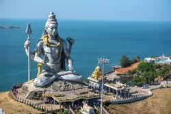 Lord Shiva Statue in Murudeshwar, Karnataka, India. Tour from Goa and Gokarna. Big Shiva.