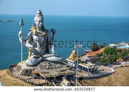 Lord Shiva Statue in Murudeshwar, Karnataka, India. Tour from Goa and Gokarna. Big Shiva. ストックフォト ©