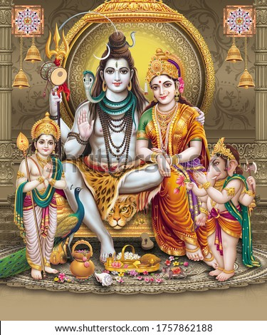 Lord Shiva with colorful background wallpaper , God Shiv Pariwar poster design for wallpaper Stock photo ©