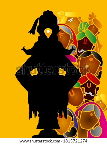 Lord Vitthal with his devotees in the background, also known as Vithoba and Panduranga, is a Hindu deity predominantly worshiped in Maharashtra, India Stockfoto ©
