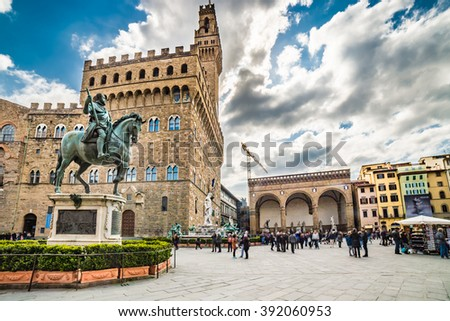 Lordship square in Florence, Italy Foto stock ©