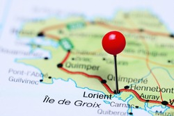 Lorient pinned on a map of France