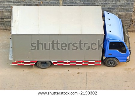 Lorry parked beside the road from above
