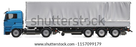 Lorry trailer with curtainside from tarp. 3D rendering isolated on white background