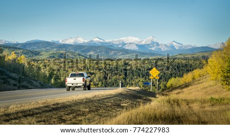 Lorry truck in Rocky Mountains Canada