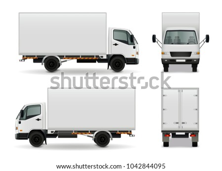 Lorry with blank surface realistic advertising mockup side view, front and rear on white background  illustration