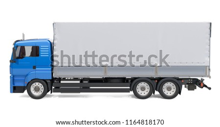 Lorry with tarp system van. 3D rendering isolated on white background