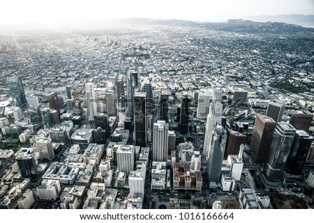 Los angeles aerial view from helicopter stock photo