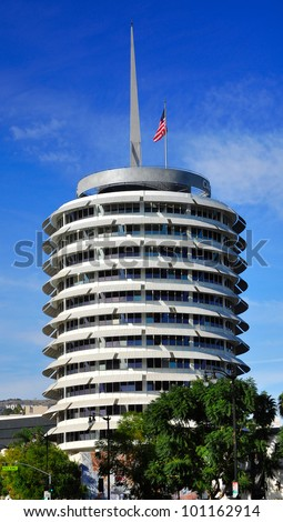 LOS ANGELES - APR 25: Capitol Records Tower on Apr 25, 2012 in LA. Capitol Records is a major US based record label, formerly located in LA. Its former headquarters is a major landmark in LA.