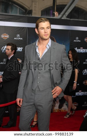 "LOS ANGELES - APR 11:  Chris Hemsworth arrives at ""The Avengers"" Premiere at El Capitan Theater on April 11, 2012 in Los Angeles, CA"