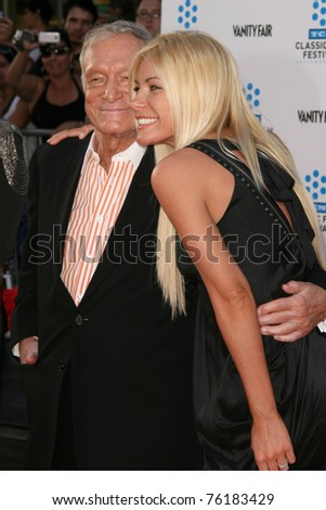 "LOS ANGELES - APR 27: Hugh Hefner, Crystal Harris arriving at the TCM Classic Film Festival &  Premiere Of ""An American In Paris"" at Grauman's Chinese Theater on April 27, 2011 in Los Angeles, CA.."