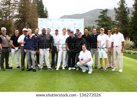 LOS ANGELES - APR 15:  Jack Wagner and Celebrity Golfers at the Jack Wagner Celebrity Golf Tournament  at the Lakeside Golf Club on April 15, 2013 in Toluca Lake, CA
