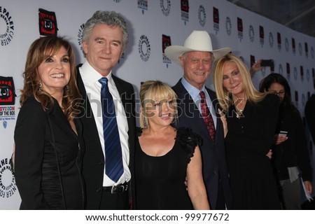 LOS ANGELES - APR 12:  Linda Gray, Patrick Duffy, Charlene Tilton, Larry Hagman, Joan Van Ark at Paley Center for Media on April 12, 2012 in Beverly Hills, CA