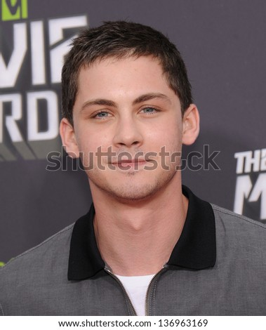LOS ANGELES APR 14 Logan Lerman arrives to the Mtv Movie Awards 2013 on April 14 2013 in Culver City CA