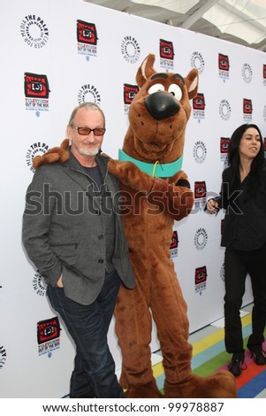"LOS ANGELES - APR 12:  Robert Englund, Scooby-Doo arrives at Warner Brothers ""Television: Out of the Box"" Exhibit Launch at Paley Center for Media on April 12, 2012 in Beverly Hills, CA"