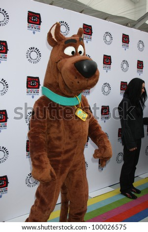 "LOS ANGELES - APR 12:  Scooby-Doo arrives at Warner Brothers ""Television: Out of the Box"" Exhibit Launch at Paley Center for Media on April 12, 2012 in Beverly Hills, CA"