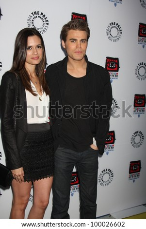 """LOS ANGELES - APR 12:  Torrey DeVitto, Paul Wesley arrives at Warner Brothers """"Television: Out of the Box"""" Exhibit Launch at Paley Center for Media on April 12, 2012 in Beverly Hills, CA"""