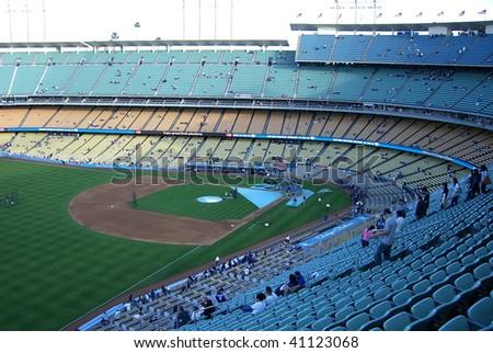 LOS ANGELES - APRIL 25: Dodger fans file in for a spring baseball game at Dodger Stadium on April 25, 2007 in Los Angeles, California.