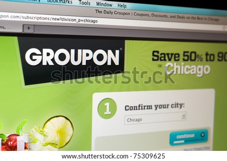 LOS ANGELES - APRIL 7: Homepage of Groupon.com, the largest and fast growing internet discount website, controversial for its recent TV campaign, on April 7, 2011 in Los Angeles California. - stock photo
