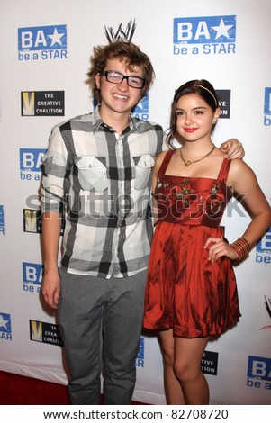 """LOS ANGELES - AUG 11:  Angus T Jones, Ariel Winter arriving at the """"be A STAR"""" Summer Event  at Andaz Hotel on August 11, 2011 in Los Angeles, CA"""