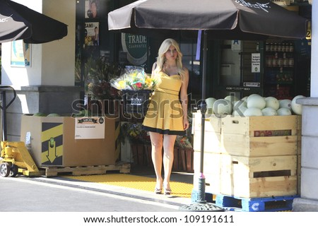 "LOS ANGELES - AUG 2: Ariane Bellamar who currently stars  in ABC Family's ""Beverly Hills Nannies"" is seen out shopping for flowers and melons on August 2, 2012 in Los Angeles, California"