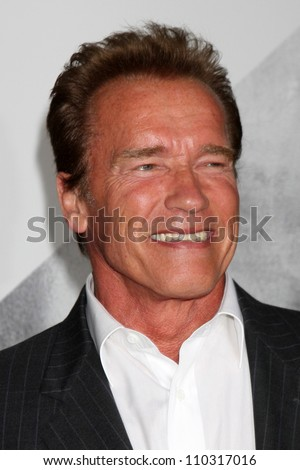 "Los Angeles - AUG 15:  Arnold Schwarzenegger arrives at the ""The Expendables 2""  Premiere at Graumans Chinese Theater on August 15, 2012 in Los Angeles, CA - stock photo"