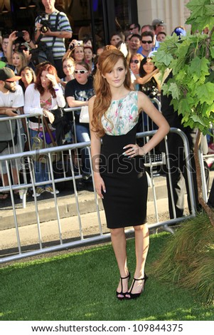 LOS ANGELES - AUG 6: Bella Thorne at the premiere of Walt Disney Pictures' 'The Odd Life of Timothy Green' at the El Capitan Theater on August 6, 2012 in Los Angeles, California - stock photo