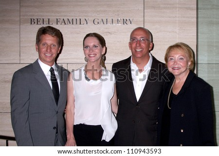 """LOS ANGELES - AUG 23:  Bradley Bell, Lauralee Bell, Bill Bell, Jr; Lee Phillip Bell  arrive at """"The Young & Restless"""" at the Paley Centeron August 23, 2012 in Beverly Hills, CA - stock photo"""