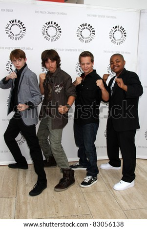 """LOS ANGELES - AUG 13:  Dylan Riley Snyder, Leo Howard, Jason Earles, Alex Christian at the Disney's """"Kickin' It"""" PaleyFest  at Paley Center for Media on the August 13, 2011 in Beverly Hills, CA - stock photo"""