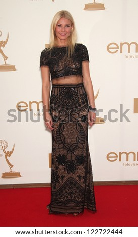 LOS ANGELES - AUG 11:  GWYNETH PALTROW arriving to Emmy Awards 2011  on August 11, 2012 in Los Angeles, CA - stock photo