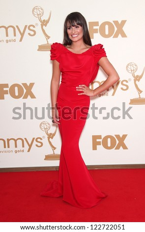 LOS ANGELES - AUG 11:  LEA MICHELE arriving to Emmy Awards 2011  on August 11, 2012 in Los Angeles, CA - stock photo