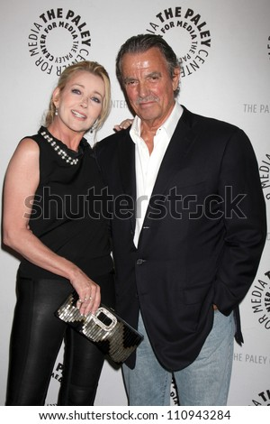 "LOS ANGELES - AUG 23:  Melody Thomas Scott, Eric Braeden arrives at ""The Young & Restless"": Celebrating 10,000 Episodes at Paley Center for Media on August 23, 2012 in Beverly Hills, CA"