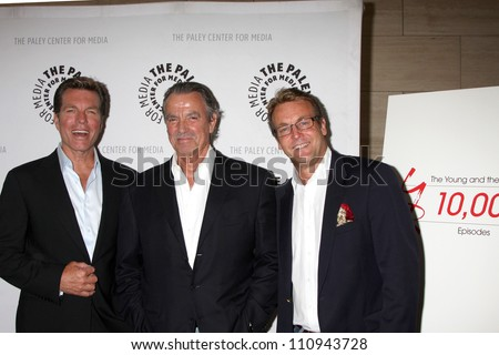 "LOS ANGELES - AUG 23:  Peter Bergman, Eric Braeden, Doug Davidson arrives at ""The Young & Restless"": Celebrating 10,000 Episodes at Paley Center for Media on August 23, 2012 in Beverly Hills, CA"