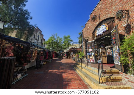 Los Angeles, AUG 23: The famous Olvera Street on AUG 23, 2014 at Los Angeles #577051102