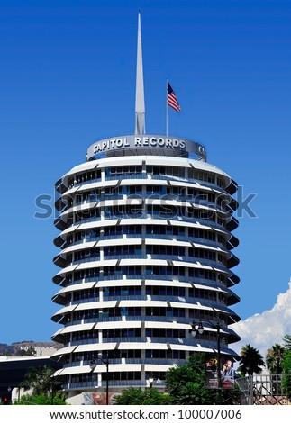 LOS ANGELES - AUGUST 25: Capitol Records Tower on August 28, 2010 in LA. Capitol Records is a major US based record label, formerly located in LA. Its former headquarters is a major landmark in LA.