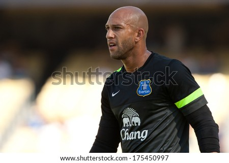 LOS ANGELES - AUGUST 3: Everton GK Tim Howard during the 2013 Guinness International Champions Cup game between Everton and Real Madrid on Aug 3, 2013 at Dodger Stadium.