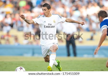 LOS ANGELES - AUGUST 3: Real Madrid F Angel Di Maria during the 2013 Guinness International Champions Cup game between Everton and Real Madrid on Aug 3, 2013 at Dodger Stadium.
