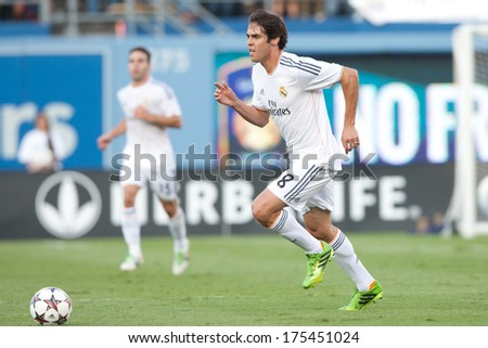 LOS ANGELES - AUGUST 3: Real Madrid F Kaka during the 2013 Guinness International Champions Cup game between Everton and Real Madrid on Aug 3, 2013 at Dodger Stadium.